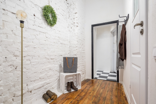 Mudrooms are one of the places suitable for rustic grade wood flooring.