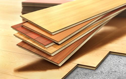 Engineered wood planks are made of multiple layers.
